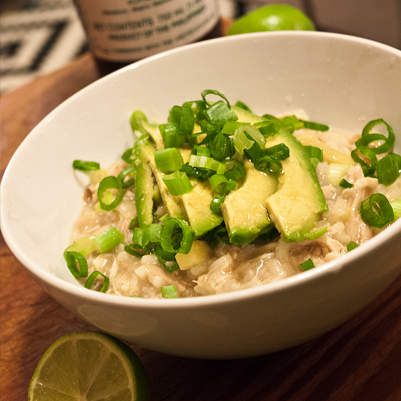 ...and 35 minutes later it's arroz caldo times! Garnish with more lime juice, scallions and avocado.