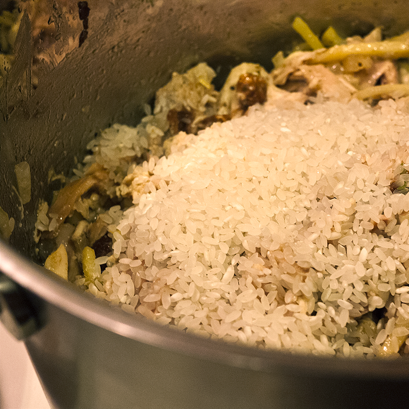 Add in the rice and sauté for a few minutes to soak up all that gingery deliciousness.