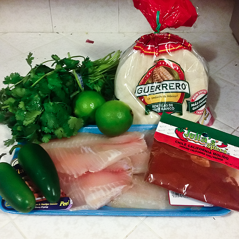 For the fish: jalapenos, cilantro, limes, tortillas, chili powder