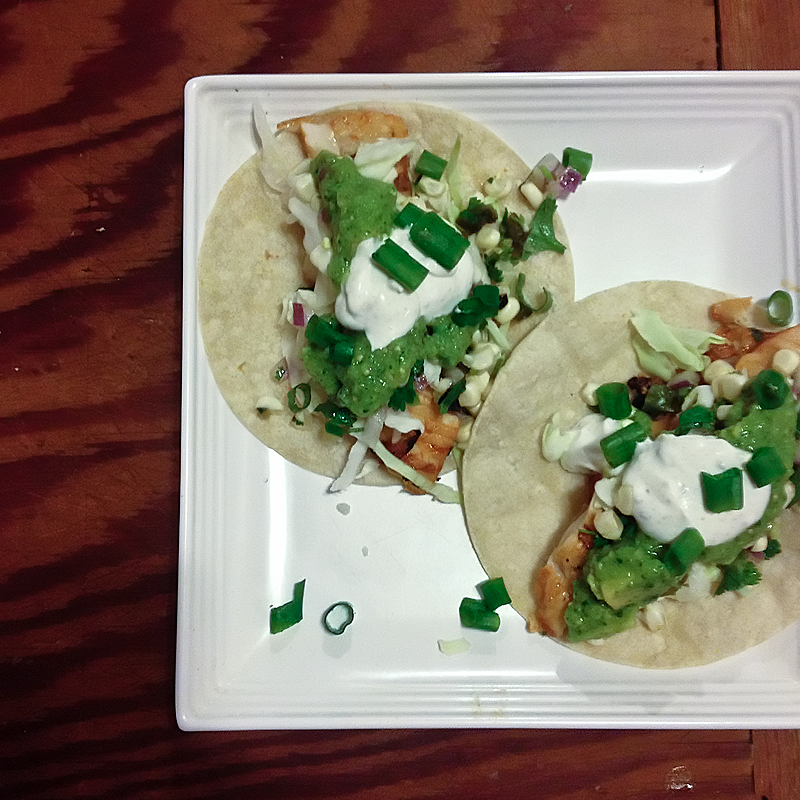 Pow! Grilled fish tacos with homemade salsas!
