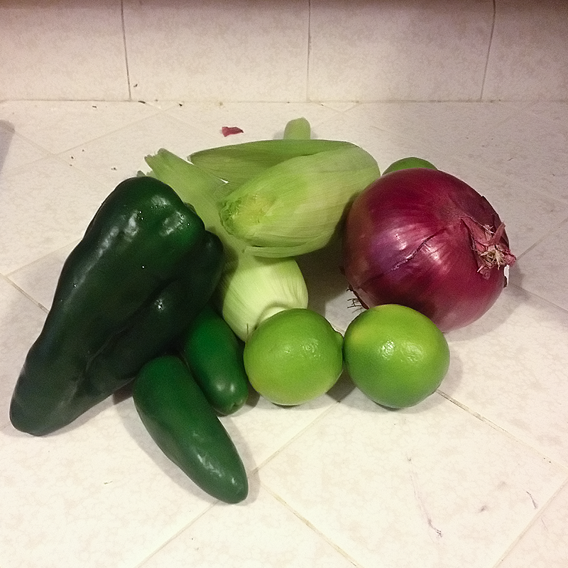 For the corn salsa: poblano chile, FRESH CORN (it's better with fresh, I promise. You can use frozen if you HAVE to though), red onion, limes, jalapenos.