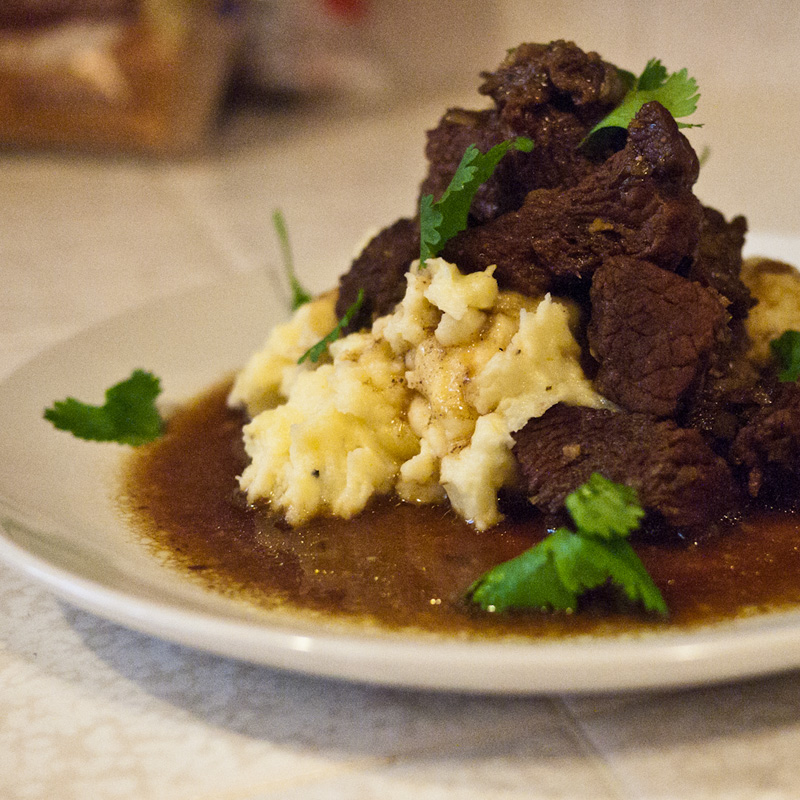 Voila! Lemongrass beef stew with sesame mashed potatoes.