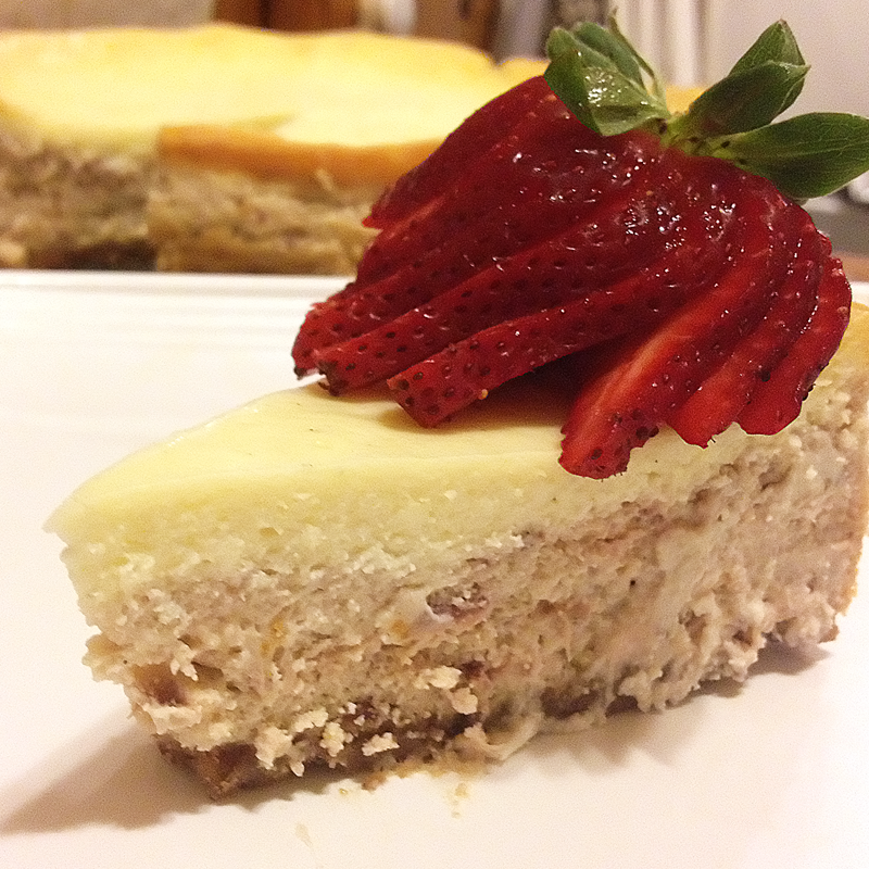Voila magic! Roasted strawberry and vanilla cheesecake. Fan a lil' berry on top to impress folks.