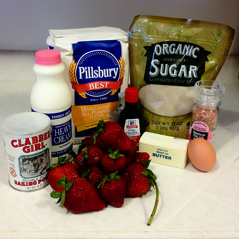This cake uses the basics - baking powder, cream, flour, sugar, salt, eggs, butter, vanilla extract and strawberries.