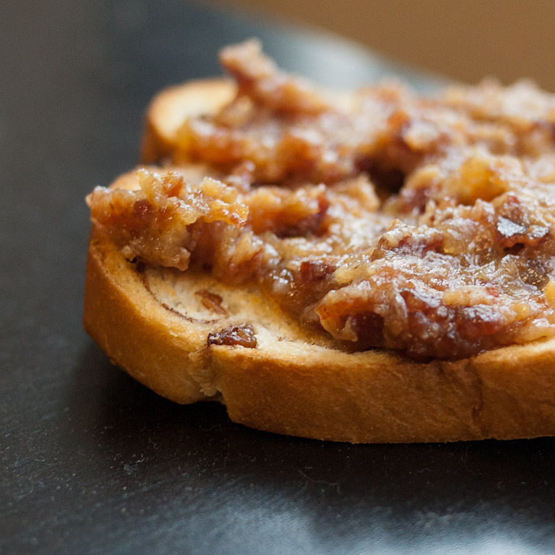 Bacon jam on cinnamon raisin bread.