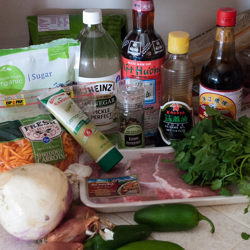 All The Ingredients To Marinate The Pork And Pickle The Veggies Sugar Vinegar