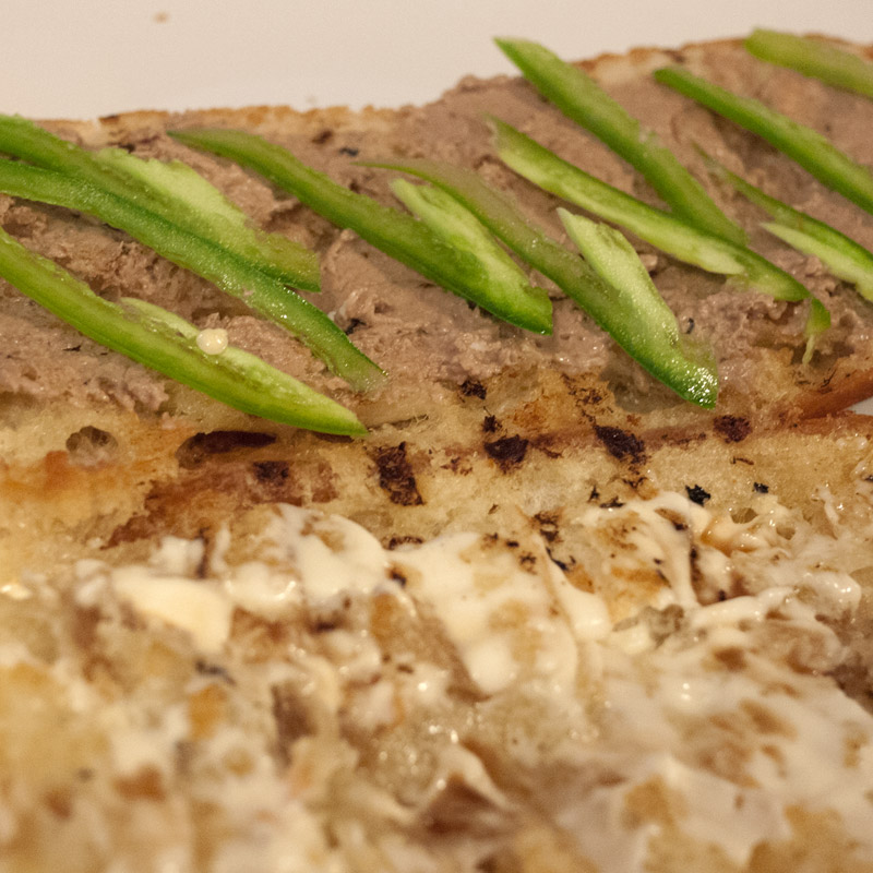 Top the pate with as many thinly sliced jalapenos as you like. I like mine spicy.
