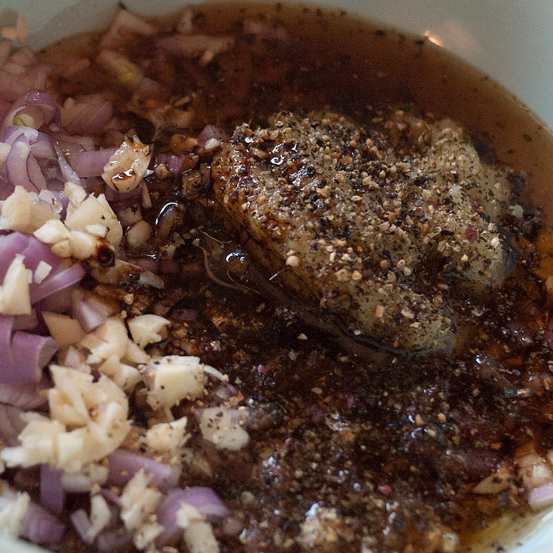 The marinade: lemongrass, sugar, fish sauce, fresh ground pepper, shallots, garlic, sesame oil, vegetable oil, dark soy sauce