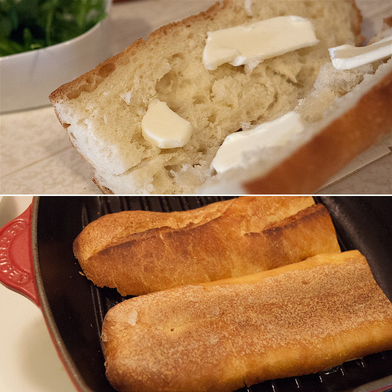Butter the bread (I used the good butter we spoke of in the pate post) and throw it in grill pan to get it toasty and crunchy and nomnomnomy.