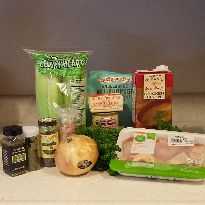 Ingredients: dried herbs, celery, onions, flour, butter, baking powder, chicken stock and organic chicken drumsticks.