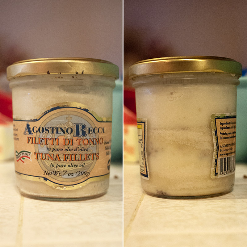 No, it's not a jar full of imported Italian tuna filets (although they were delicious), it's my secret stash of bacon fat I keep in the fridge. I think you should do the same.