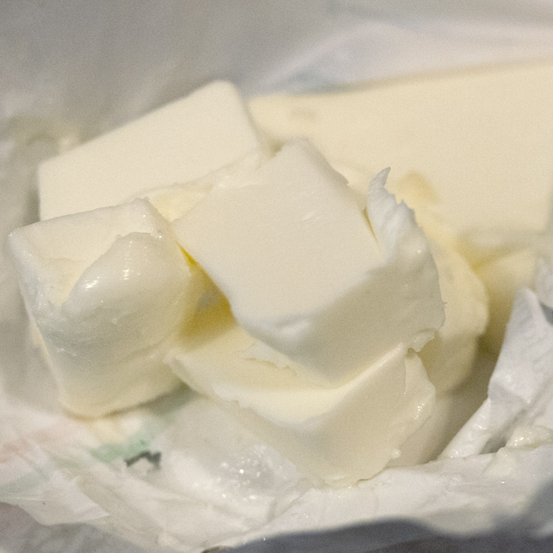 I was taken aback when I first opened the packaging and saw this super creamy soft pure white butter. We're so used to the yellow stuff. This looked like straight up LARD. Just pure white and delicious.