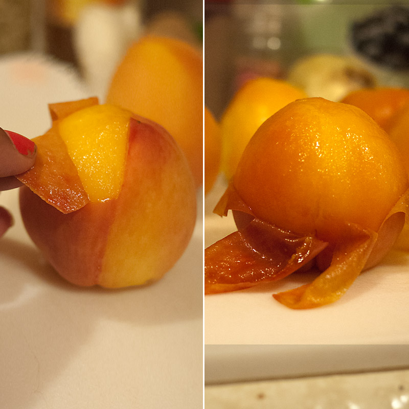 This is the part I find completely satisfying. I don't know what it is about peeling a peach effortlessly that's just... so gratifying. Try it and tell me I'm wrong.