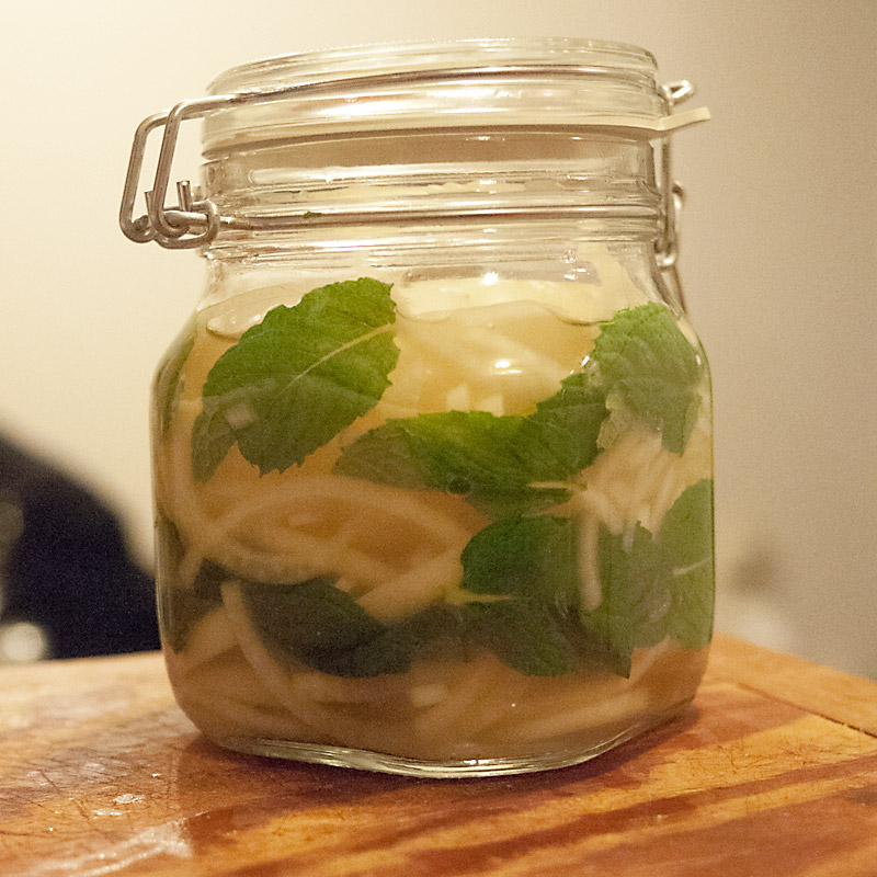 Quick blanch the onions and throw it all in a jar. I tried to make it pretty and layer the mint along the sides but yeah... we can all see how that turned out. Fat Fingers + Small Hermetic Jar Openings = unlayered mint leaves.