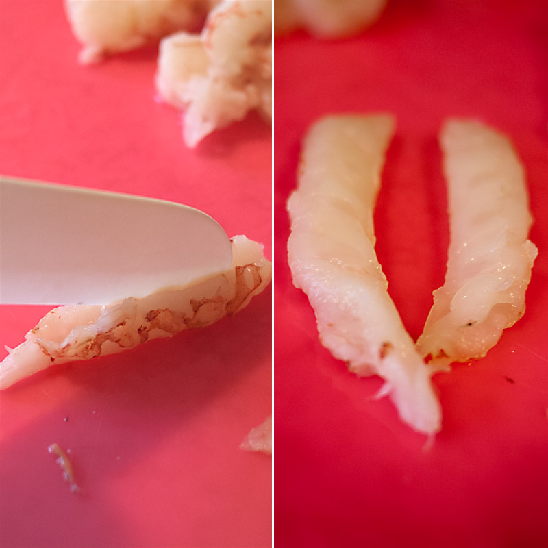 Cut the large shrimp lengthwise. Remove any gross vein thingies. If your shrimp are particularly large / long, you may also have to cut crosswise.