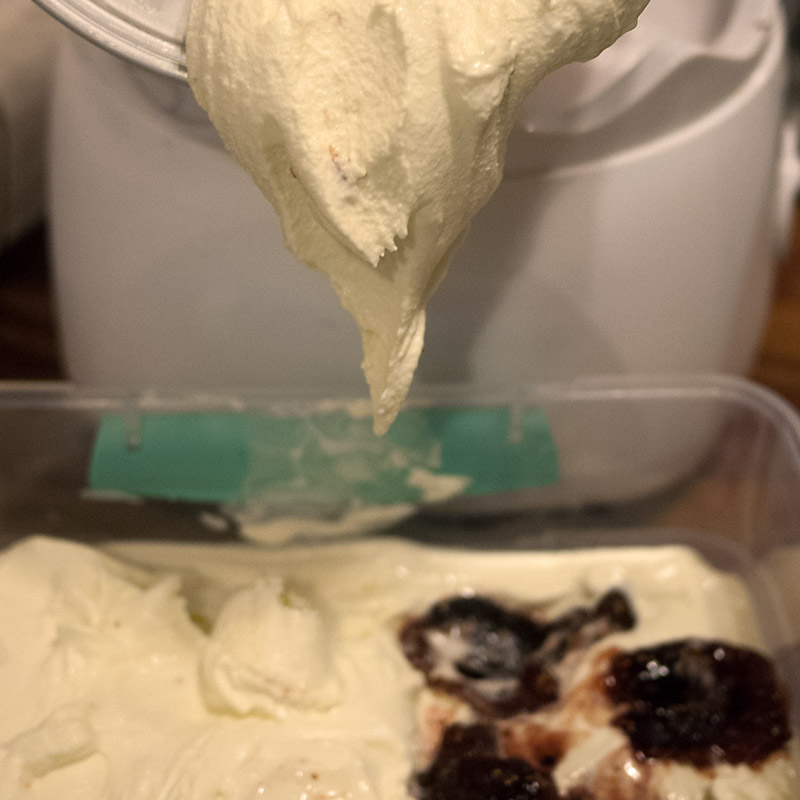 Layer ice cream + figs + ice cream + figs into an air-tight container.  Swirl 'em around a bit too.