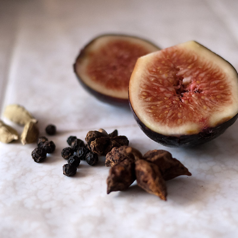 Fig, star anise, peppercorns and green cardamom pods. Once you have spices like this in your arsenal, it's fun to add them to different dishes. I add these same 3 spices to my rice cooker when I'm making rice. It smells so good!