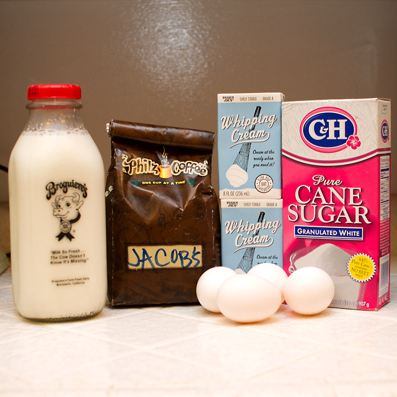 Ingredients - milk, coffee, cream, sugar, eggs (not pictured: vanilla paste).
