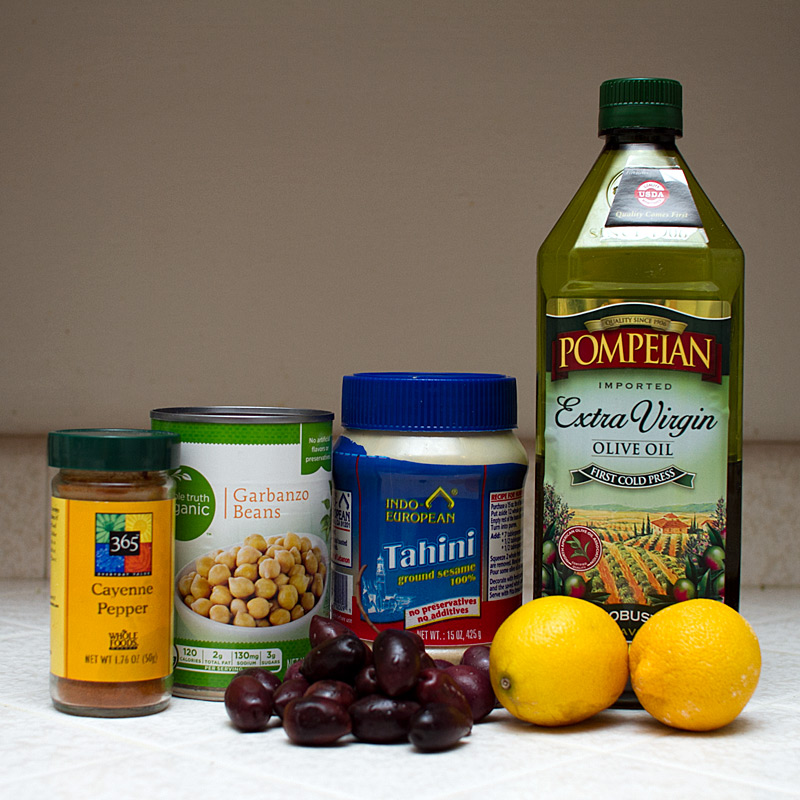 ingredients for kalamata olive hummus