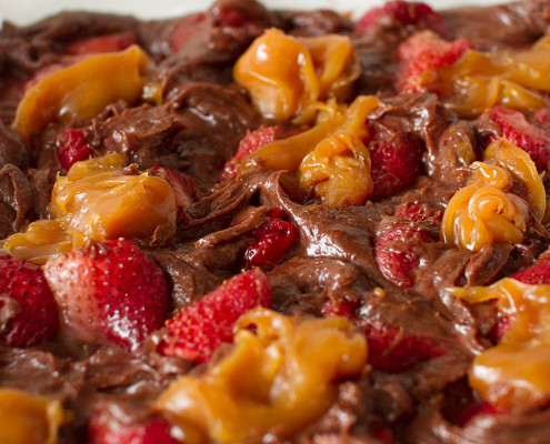 roasted strawberry salted caramel brownies