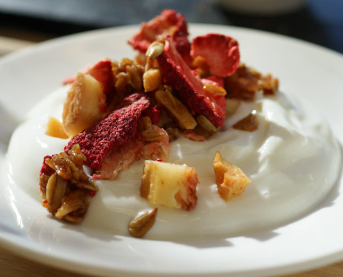 strawberry white peach granola