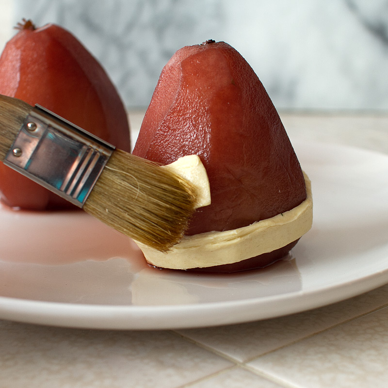 red wine poached pears in puff pastry from FMITK
