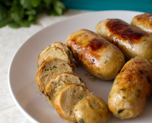 chicken sausage with lemongrass and thai basil with panang curry mayo on FMITK