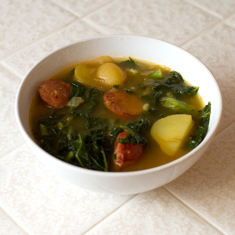 spicy sausage kale and potato soup on FMITK