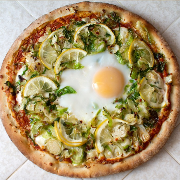 brussels sprout, lemon and egg pizza recipe from FMITK