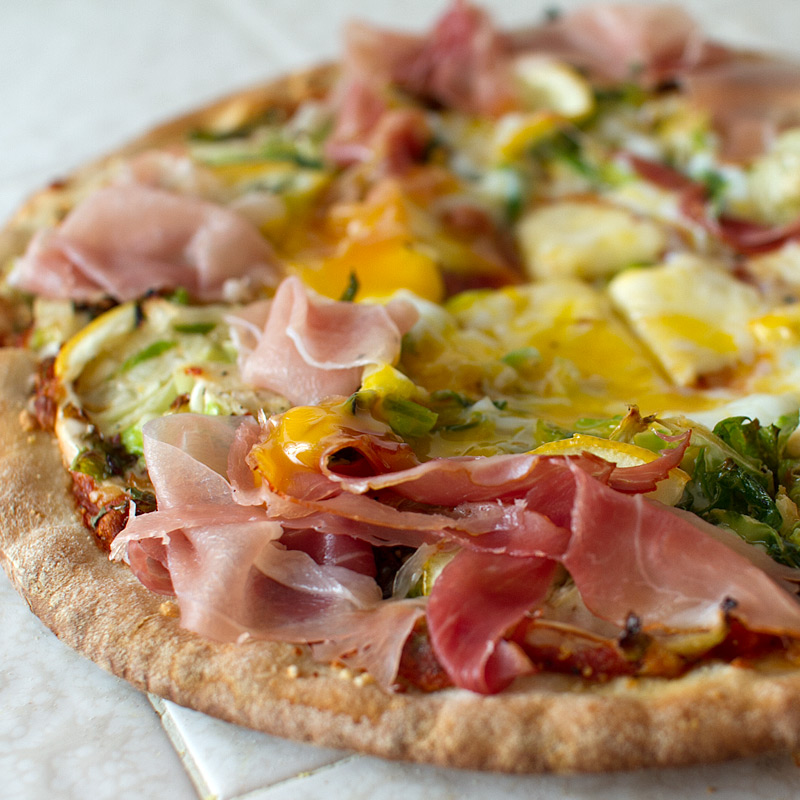 Trader Joes Hack: Brussels Sprouts, Lemon and Egg Pizza Margherita