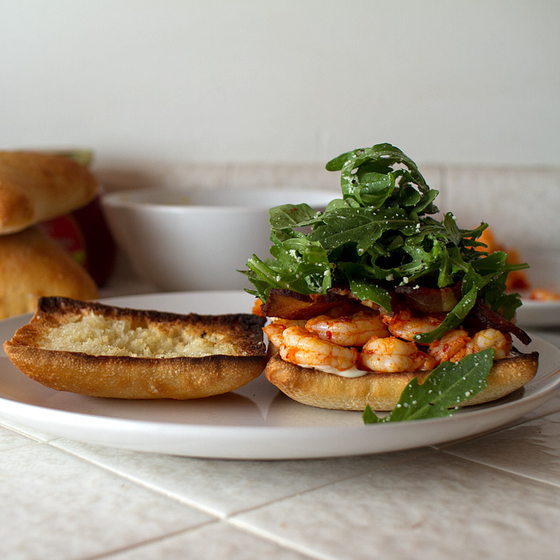 smoked avocado, shrimp and bacon sandwich on FMITK.com