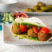Baked or Fried Falafel with Yogurt Tahini Sauce