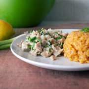 Kelaguen Mannok (Chamorro-style Chicken Salad) with Red Rice
