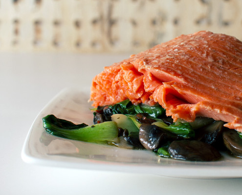 Chinese five spice smoked salmon and bok choy recipe on fmitk.com