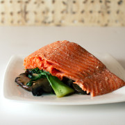 Chinese Five Spice Smoked Salmon with Bok Choy and Mushrooms