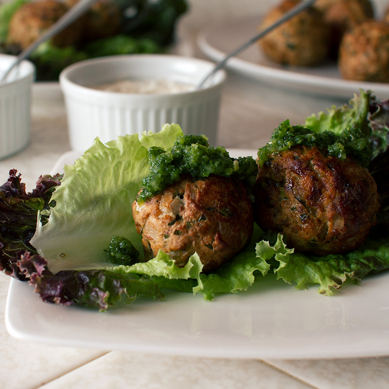 moroccan turkey meatballs with green chutney recipe on fmitk.com