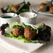 Moroccan Turkey Meatballs with Green Chutney and Tahini Yogurt Sauce