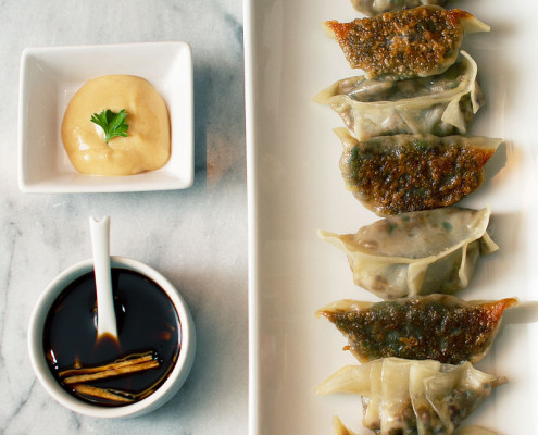 mushroom quinoa and bok choy potstickers on fmitk.com
