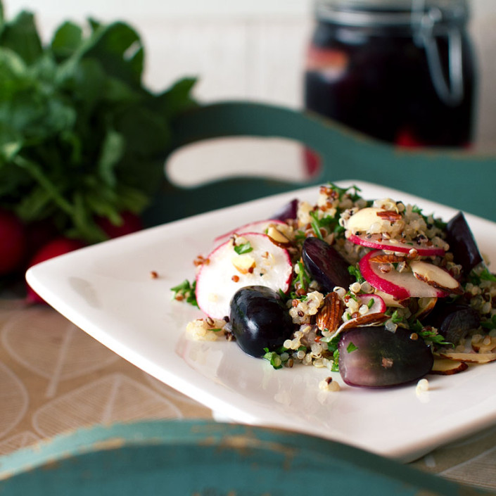 chai spiced pickled grapes and quinoa salad on fmitk.com