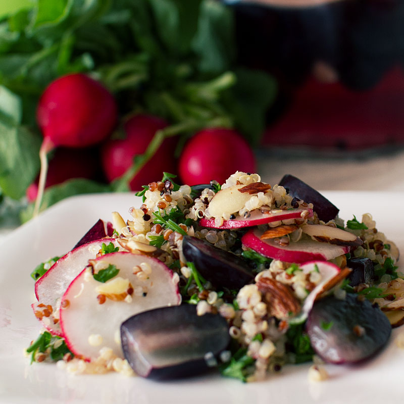 Chai-Spiced Pickled Grapes and Quinoa Salad