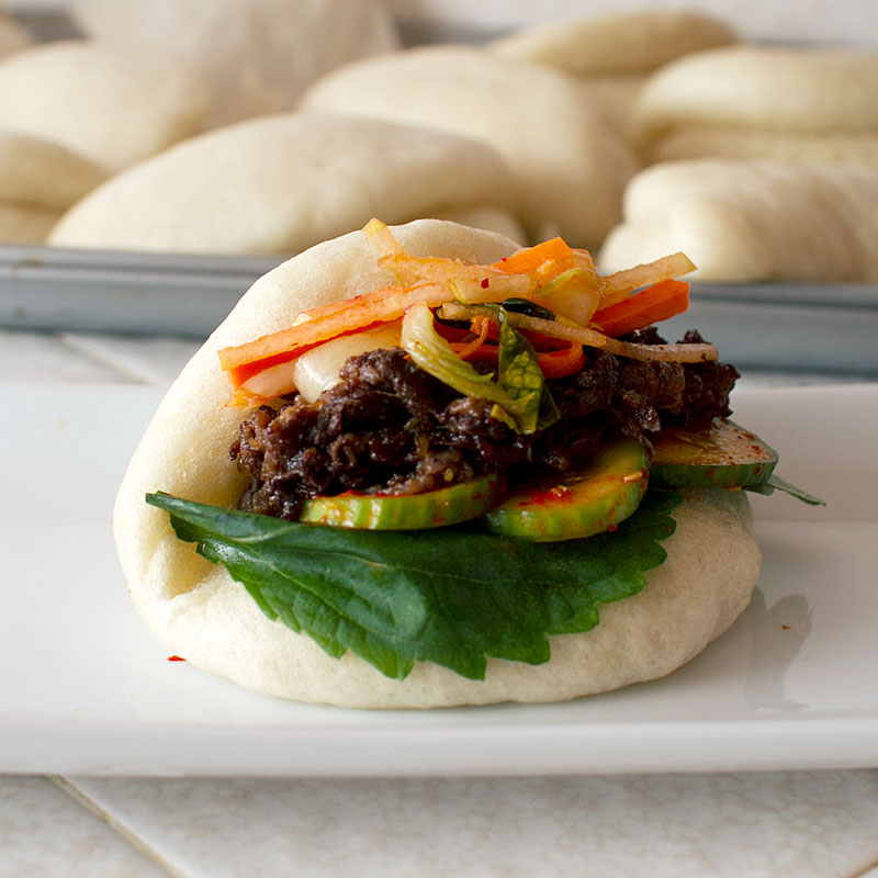 bulgogi bao with homemade steamed buns on fmitk.com