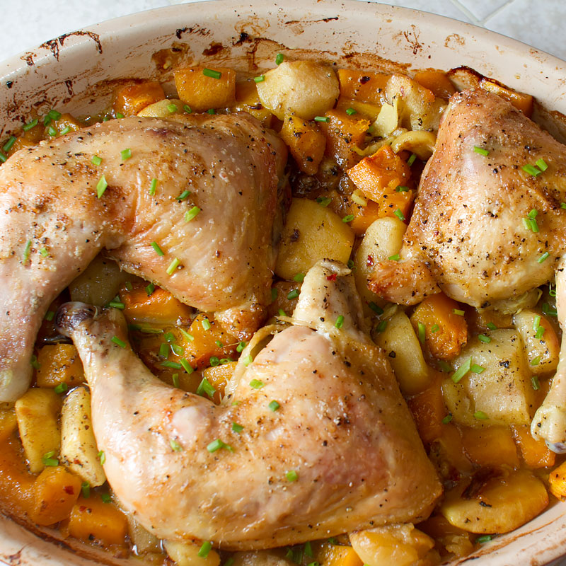 Roasted chicken with cardamom squash and apples recipe on fmitk.com