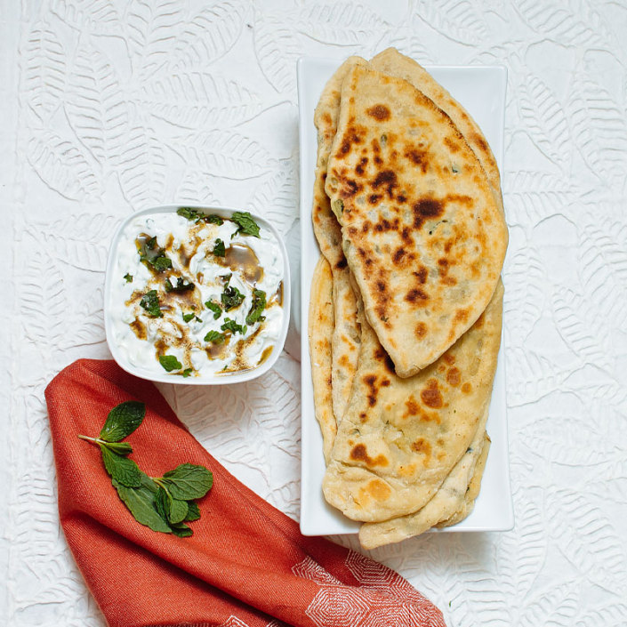 onion mint kulcha with cucumber lime yogurt recipe on fmitk.com