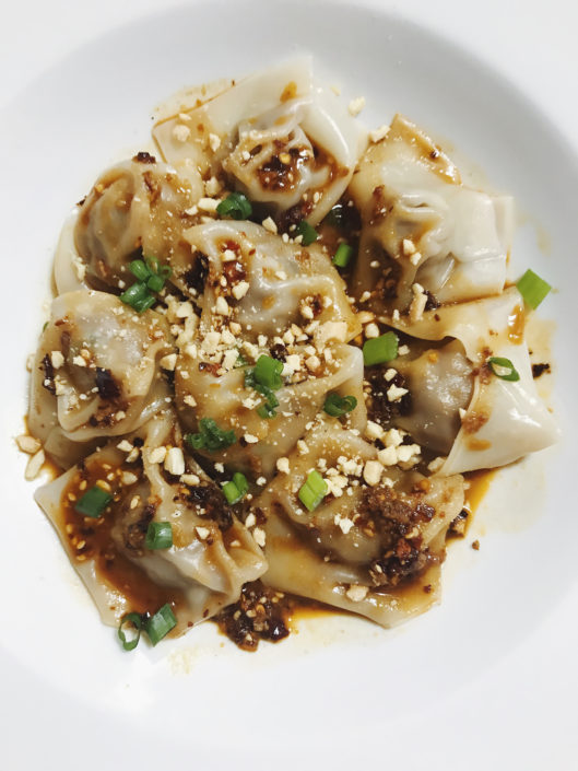 lamb wontons with spicy chili sauce on fmitk.com